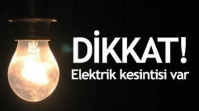 Pazar Günü Elektrik Kesintisi
